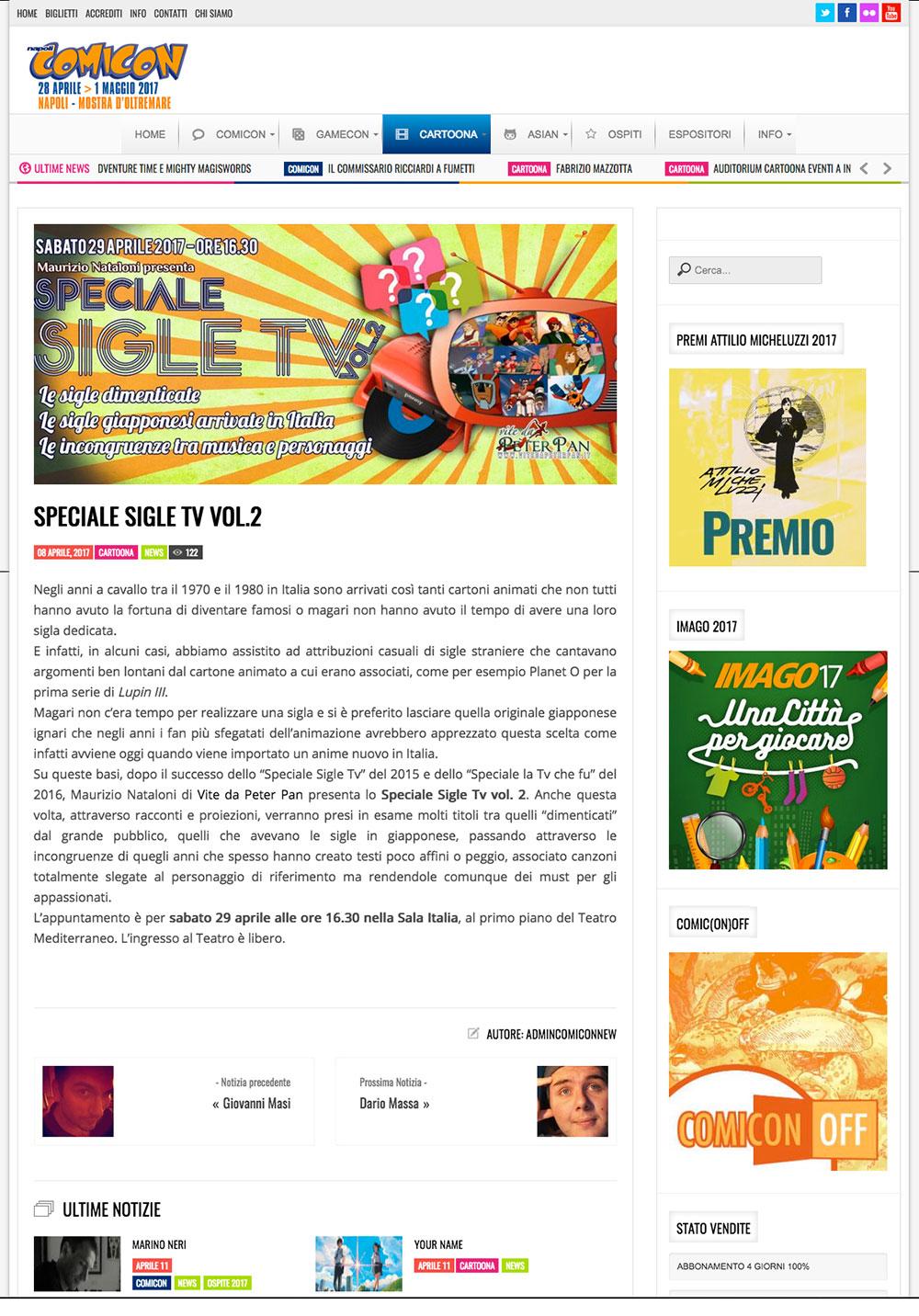 Comicon 2017: Speciale sigle tv vol.2